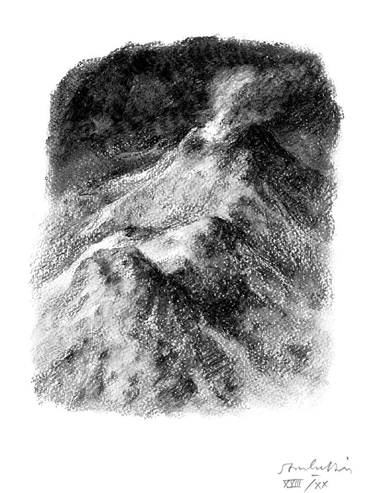 Estampe Stanisls Bouvier - Homère au royaume des morts a les yeux ouverts